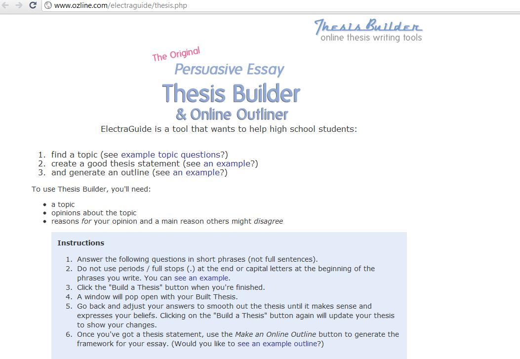 thesis builder for argumentative How to write a good thesis statement: using a thesis generator  example of  argumentative essay thesis: the electoral college is outdated.