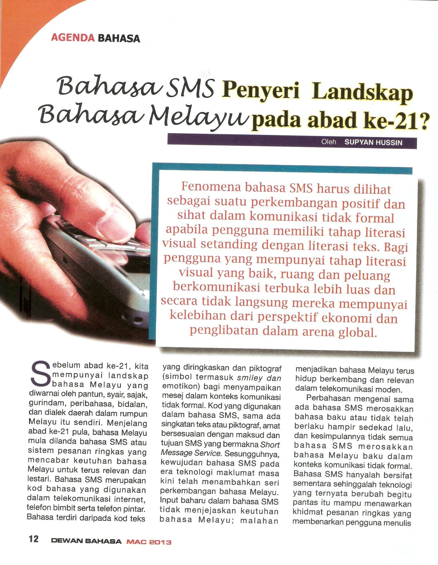 Bahasa Sms Penyeri Landskap Bahasa Melayu Pada Abad Ke 21 Cv Prof