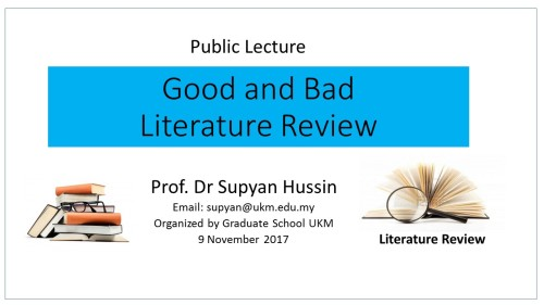 Good and Bad Literature Review 2017
