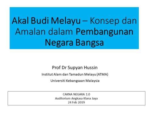 Akal Budi Melayu dalam Pembangunan Negara Bangsa